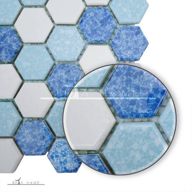 Artema ceramic atlantic hexagon blue cloud mix zoom