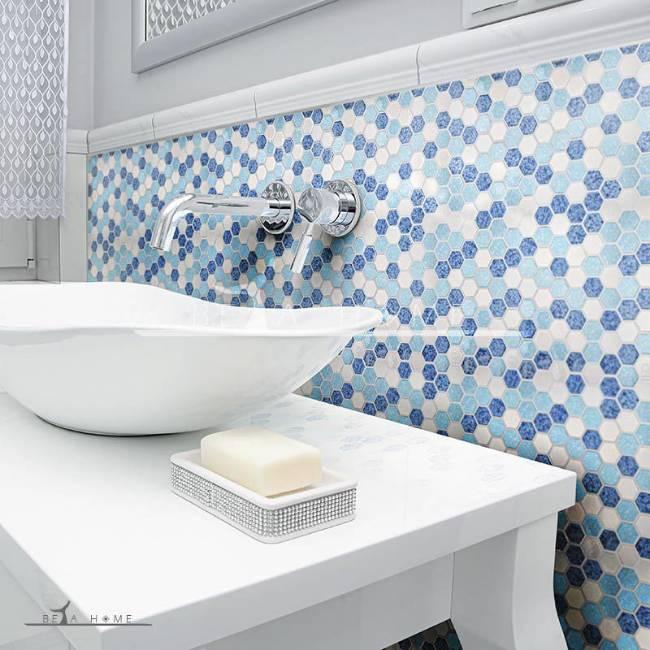 Beautiful bathroom with Artema ceramic atlantic hexagon blue cloud mix mosaics