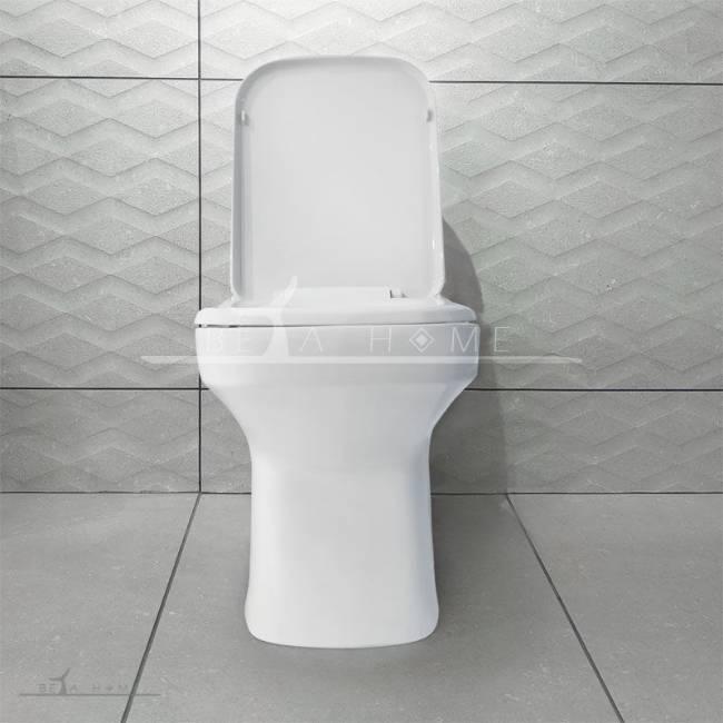 Morvarid sanitary Volga modern toilet front view open seat