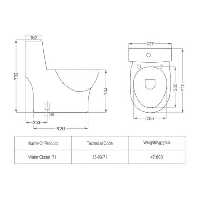 Katia toilet dimensions