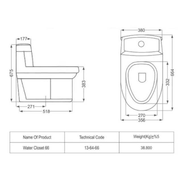 Toilet farangi Valentina dimensions