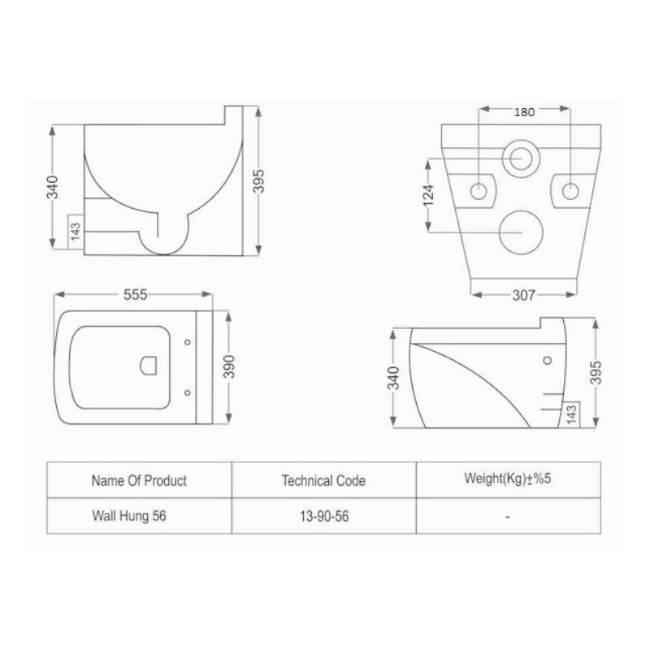 Katia modern wall mount toilet dimensions