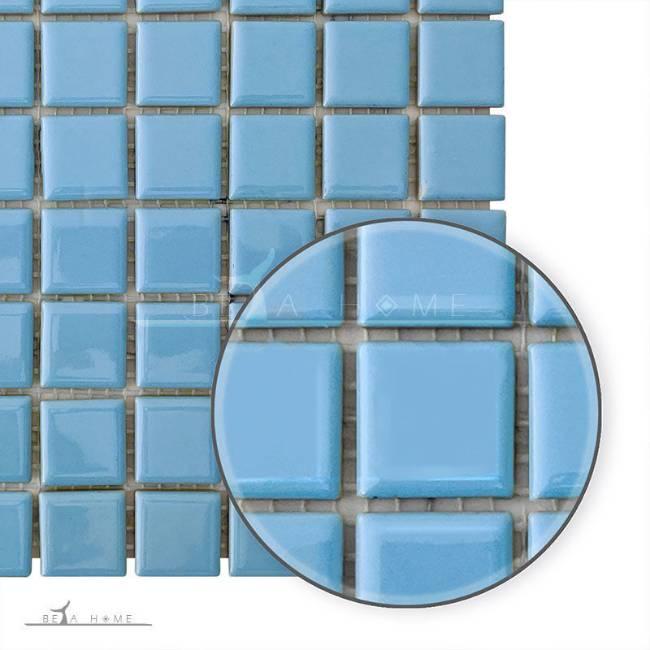 Light Blue glazed porcelain mosaic tiles detail