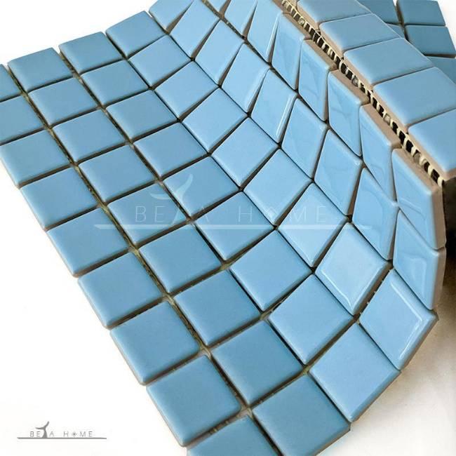 Light Blue glazed mosaic tiles on mesh backing
