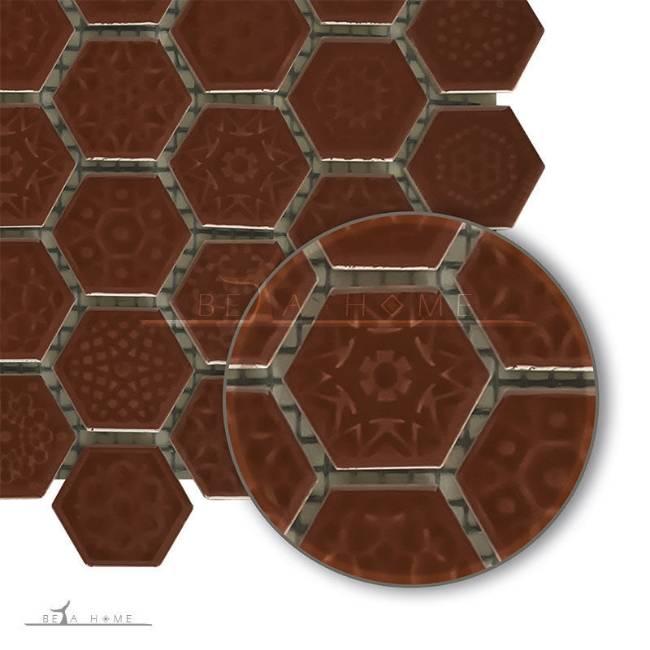 Brown Hexagon Mosaic Tile