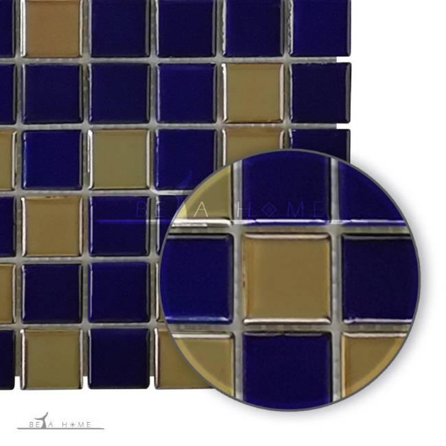 Artema ceramic dark blue and metallic mosaic porcelain tile mix