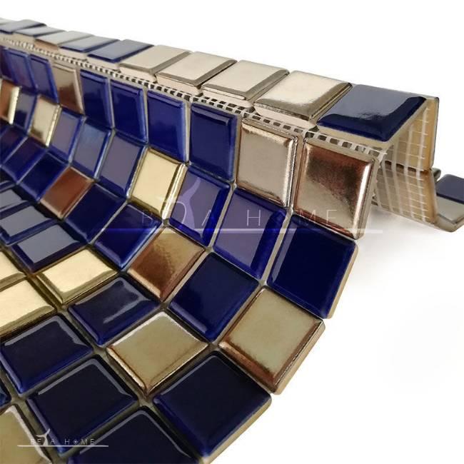 Artema ceramic dark blue and metallic mosaic porcelain tile mani mix