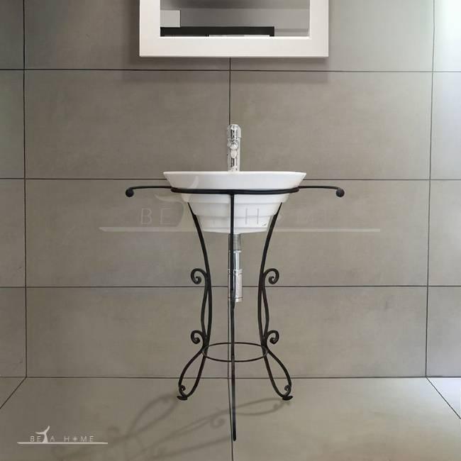 Morvarid oriental sink with decorative metal stand