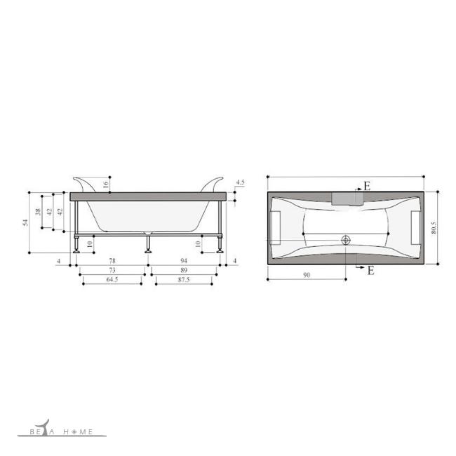 Ramana straight standard bath dimensions