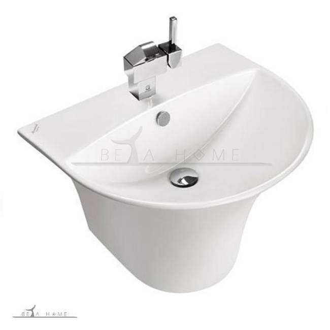 Silvia semi pedestal modern designer bathroom sink