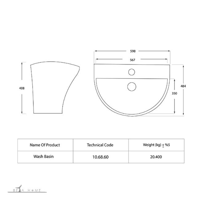 Silvia semi pedestal sink dimensions