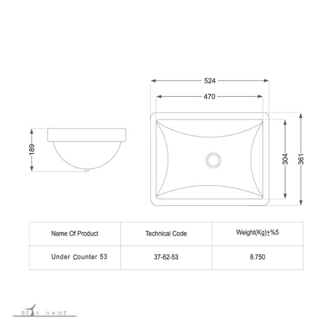 SPA under counter zirsangi sink dimensions