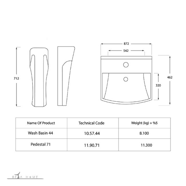 Dimensions of Katia pedestal bathroom sink