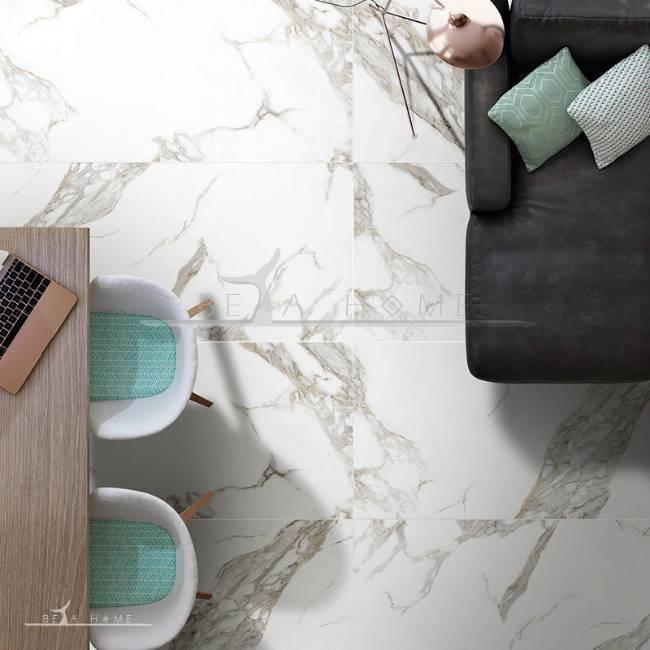 Goldis tile carrara marble effect slab tile