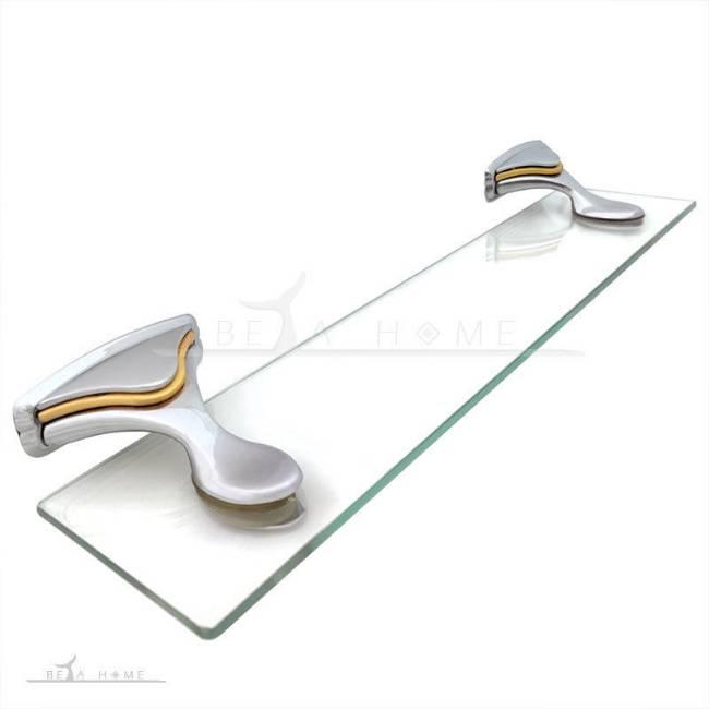 steel and glass bathroom shelf