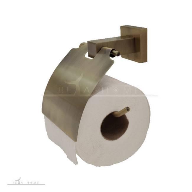 Antique brass toilet roll holder