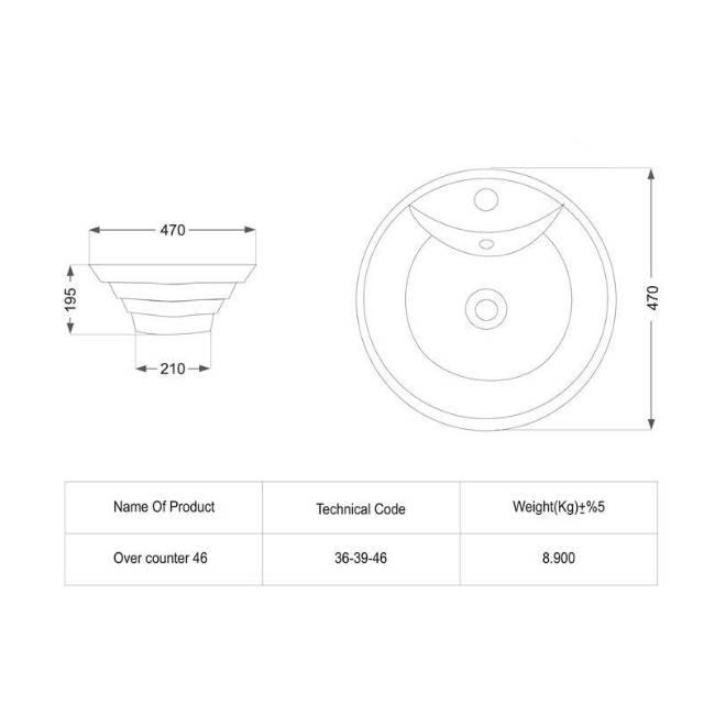 oriental sink dimensions