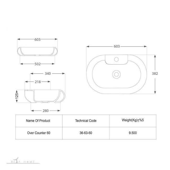 morvarid parmida countertop sink dimensions