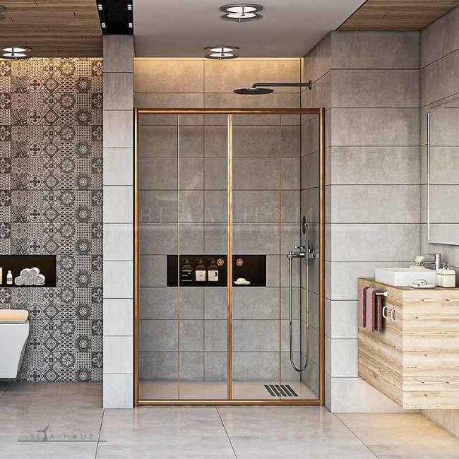 Large shower doors gold frame