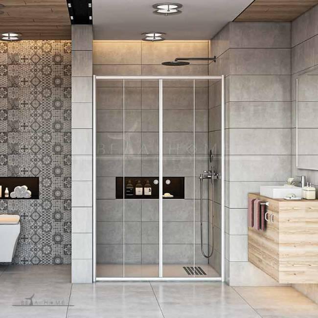Large shower doors white frame