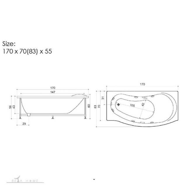 Ariana 774 bath dimensions