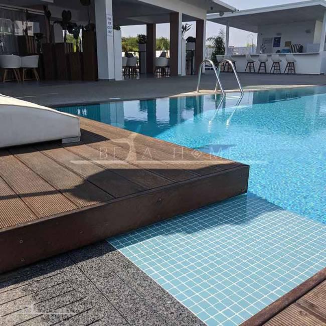 blue mosaic tiles swimming pool